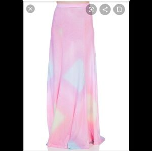 Wildfox tie dye rainbow Brite maxi festival skirt